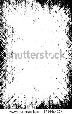 Dark Paint Weathered Texture. Abstract Dirty Creative Design Backdrop Element. Black And White Distressed Grunge Vector Overlay Template.  #1264464376
