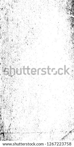 Dark Paint Weathered Texture. Abstract Dirty Creative Design Backdrop Element. Black And White Distressed Grunge Vector Overlay Template.  #1267223758