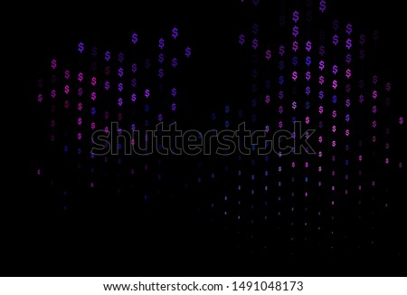 Dark Pink, Blue vector background with dollar, USD, usa. Shining colored illustration with dollar, USD, usa signs. Best design for your ad, poster, banner of money.