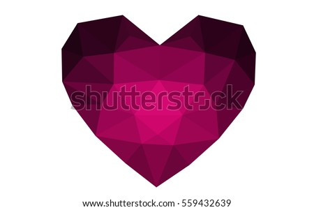 dark pink heart isolated on