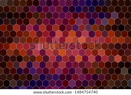 Dark Pink, Red vector background with hexagons. Colorful hexagons on blur backdrop. Design for website posters, banners.