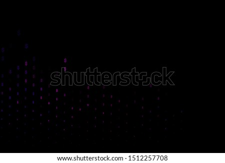 Dark Pink vector cover with dollar, USD, usa signs. Blurred design in with symbols of dollar, USD, usa. The pattern can be used for financial, investment websites.