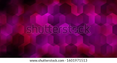 Dark Pink vector pattern with colorful hexagons. Colorful hexagons on blur backdrop. Design for your business advert.