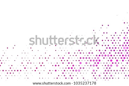 Dark Pink vector red banner with set of circles, dots. Donuts Background. Creative Design Template. Technological halftone illustration.