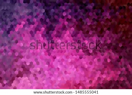 Dark Pink vector texture with colorful hexagons. Colorful hexagons on blur backdrop. Pattern for ads, leaflets.