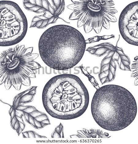 Dark purple passion fruit  background. Tropical  hand drawn illustration. Engraved botanical sketch. Passiflora seamless pattern.