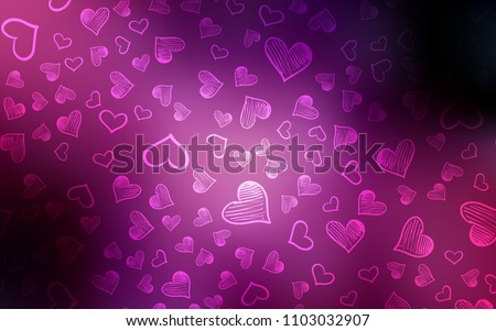 Dark Purple, Pink vector background with hearts. Glitter abstract illustration with colorful hearts in romantic style. Pattern for carnival, festival romantic leaflets.