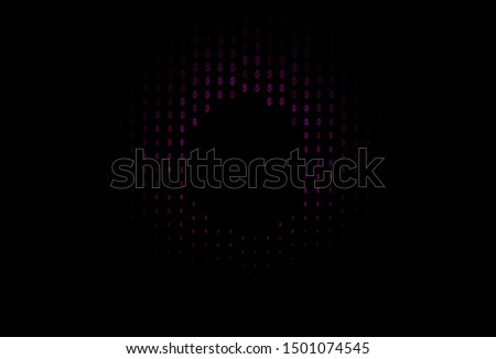 Dark Purple, Pink vector template with dollar, USD, usa. Shining colored illustration with dollar, USD, usa signs. Best design for your ad, poster, banner of money.