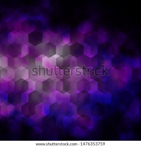 Dark Purple, Pink vector texture with colorful hexagons. Colorful hexagons on blur backdrop. Design for website posters, banners.