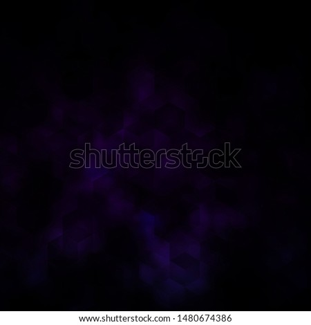 Dark Purple vector background with hexagons. Colorful hexagons on blur backdrop. Pattern for ads, leaflets.