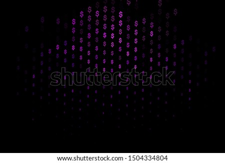 Dark Purple vector cover with dollar, USD, usa signs. Blurred design in with symbols of dollar, USD, usa. The pattern can be used for ad, booklets, leaflets of banks.