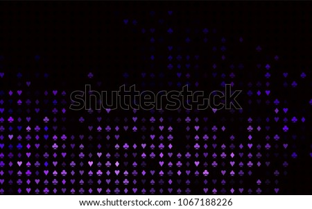 Dark Purple vector pattern with symbol of cards. Shining illustration with hearts, spades, clubs, diamonds. Smart design for your business advert of casinos.