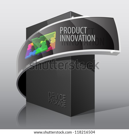 Dark Realistic Package Cardboard Box. For presentation Software, electronic device and other products. Vector illustration