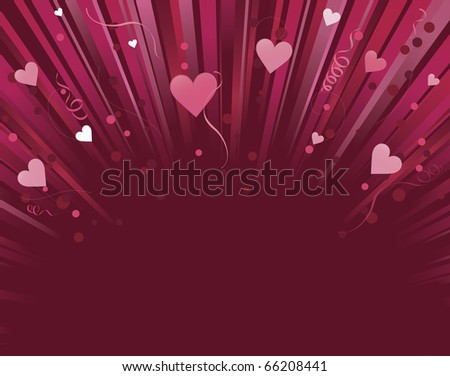 pink love heart background. stock vector : Dark red and pink love heart background light burst