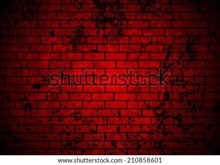 Dark Red Grunge Brick Wall Background Vector Design
