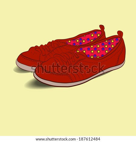 dark red shoes with colored