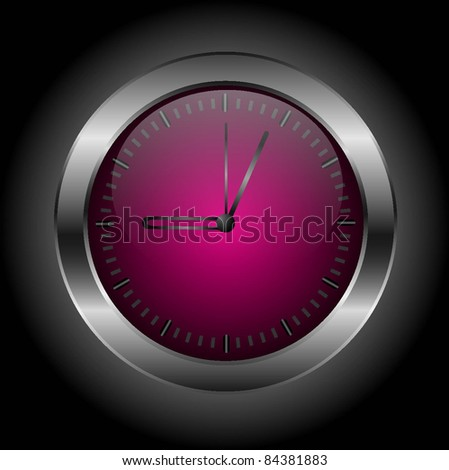 Dark red stylish clock ?n a black background. Vector illustration. eps10