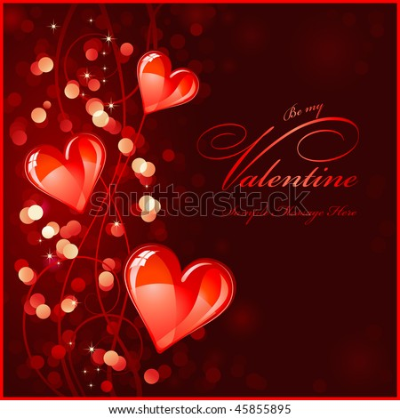 dark red valentines background or greeting card with glossy red hearts - no transparencies or mesh used - stock vector