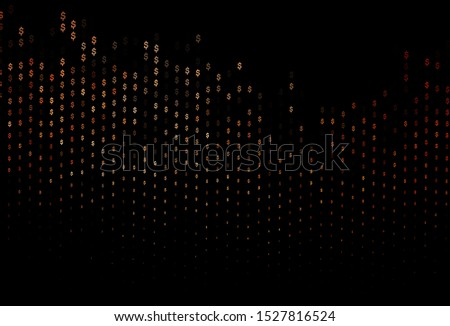 Dark Red vector background with dollar, USD, usa. Shining colored illustration with dollar, USD, usa signs. The pattern can be used for financial, investment websites.