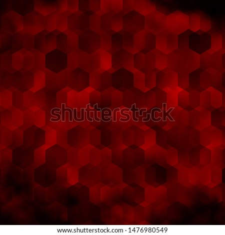 Dark Red vector background with hexagons. Colorful hexagons on blur backdrop. Design for website posters, banners.