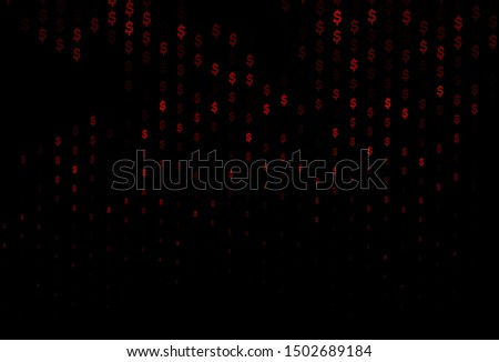 Dark Red vector cover with dollar, USD, usa signs. Shining colored illustration with dollar, USD, usa signs. Template for ads of markets, loans.