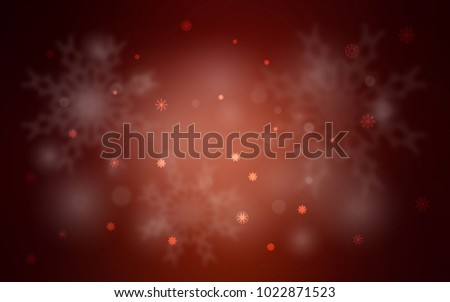 Dark Red vector layout with bright snowflakes. Snow on blurred abstract background with gradient. New year design for your business advert. #1022871523