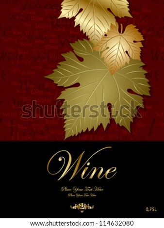 dark red with three leaves wine label - stock vector