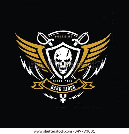 dark rider racer logo crests
