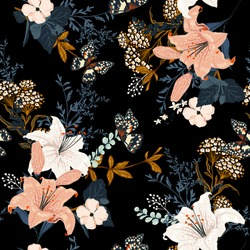 Dark romantic garden flowers in the night ,Full of  blooming lily and many kind of flowers seamless pattern design for fashion,fabric ,wallpaper,and all prints on black background color.