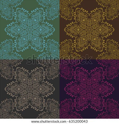 Dark round ornamental background with decorative frame. Retro napkin design in flat and simple style