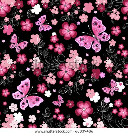 Dark seamless floral pattern with flowers and butterflies (vector)