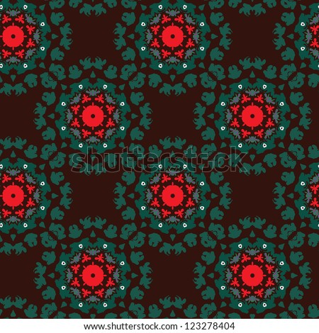 Dark seamless pattern with kaleidoscope flowers