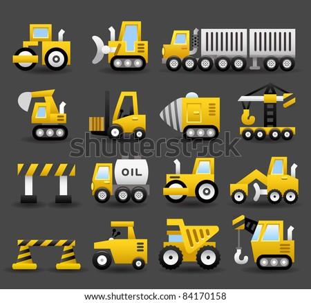 Dark series   car,vehicle,Construction machine icon set
