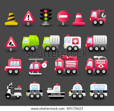 Dark series | car,vehicle, transportation,emergency icon set