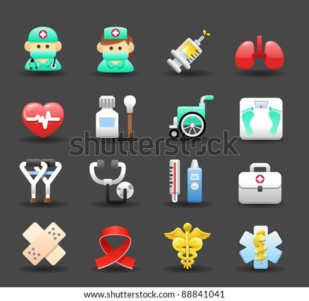Dark series | Medical ,Emergency ,health care icons set