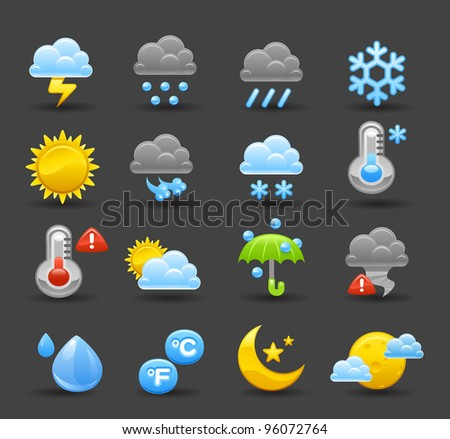 dark series   weather icon set