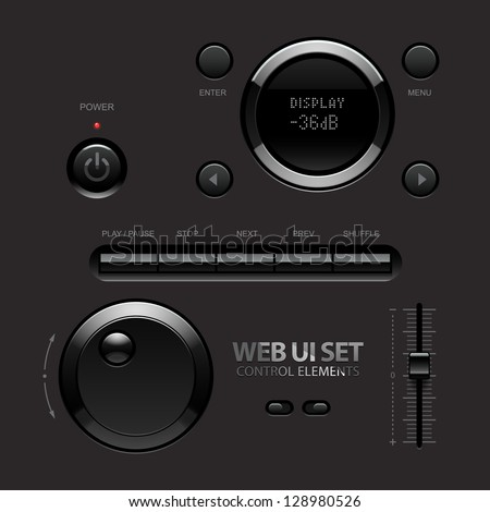 Dark Shiny Web UI Elements. Buttons, Switches, bars, power buttons, sliders. Part two. Vector illustration