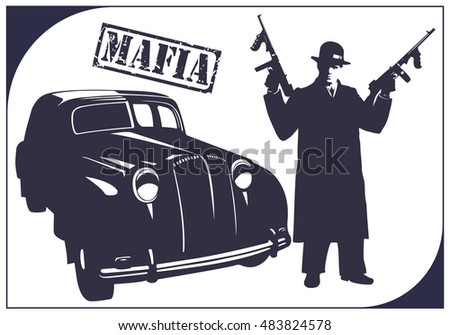 dark silhouette of a gangster