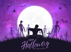Dark silhouette sticks out of ground in cemetery. Purple Halloween night background with zombies, bats and spider. Illustration can be used for children's holiday design, cards, invitations and banner