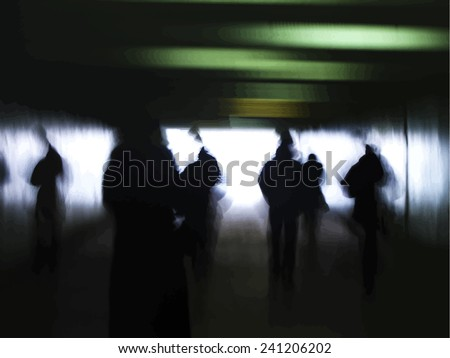 dark silhouettes in subway