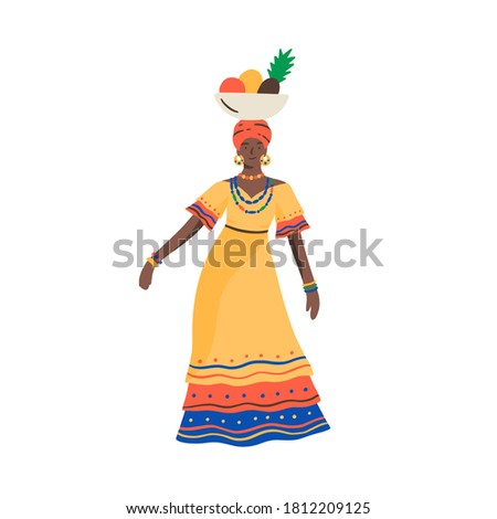 Dark skin Cuban woman dancing with bowl full of exotic fruits on head vector flat illustration. Female traditional Cuba clothes isolated. Ethnic tropical person in colorful dress and accessories Foto stock ©