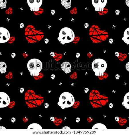 dark skull seamless pattern