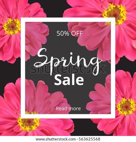 Dark spring banner with pink flowers. Spring sale banner. Spring template for design. Vector illustration. #563625568