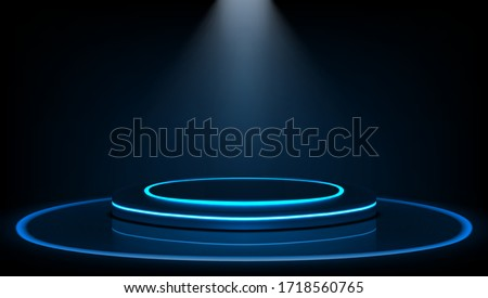 Dark Stage For Product Presentation And Glossy Podium Or Pedestal. EPS10 Vector