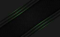 Dark steel mesh abstract background with green glowing lines with space for design. Modern technology innovation concept background