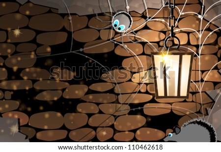 dark stone dungeon with cobweb