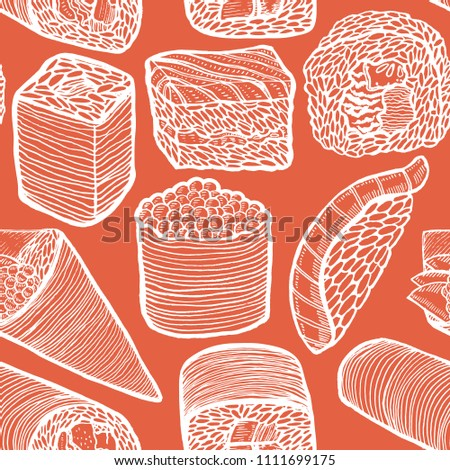 Dark Sushi Pattern. Japanese Food Seamless Background in Hand Drawn Style for Surface Design Fliers Prints Menu. Vector Illustration