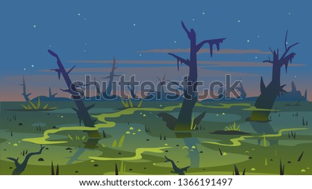 dark swamp landscape with dead