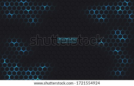 Dark technology hexagonal vector background. Abstract blue bright energy flashes under hexagon in dark technology modern futuristic background vector illustration. Gray honeycomb texture grid.