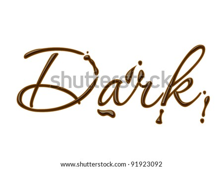 dark text made of chocolate